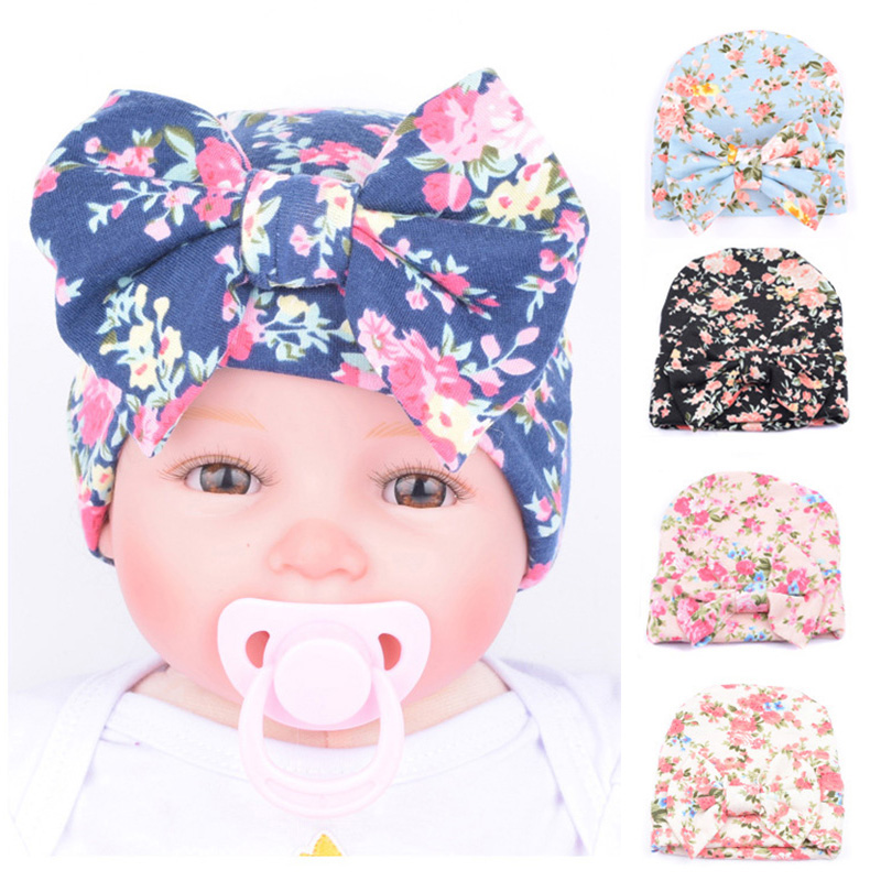 baby hat winter hats Newborn Infant Baby Girls Flower bowknot Beanies Hat  Comfortably Hospital Cap Headband gorro infantil girl 8405cbcf974
