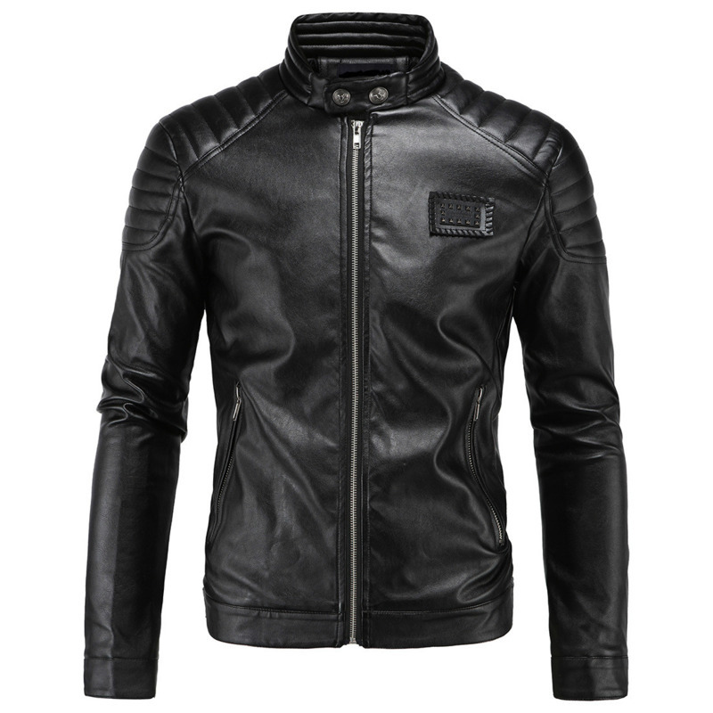 Mens Fashion PU Leather Man Jackets New Style Vintage Motorcycle Male Coat Black Jacket