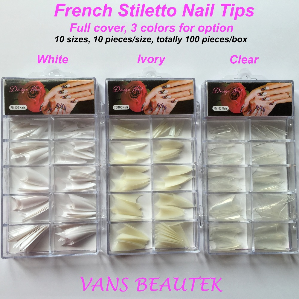 French Sharp End Stiletto Acrylic Nail Tips Full Cover White Ivory Clear Colors Art Decoration Kits In False Nails From Beauty Health On