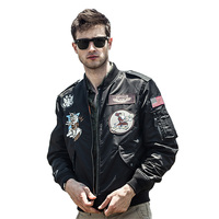2016 New Autumn US Men S Clothing Embroidery Badge MA1 Pilot Flight Bomber Jacket Coat Letterman