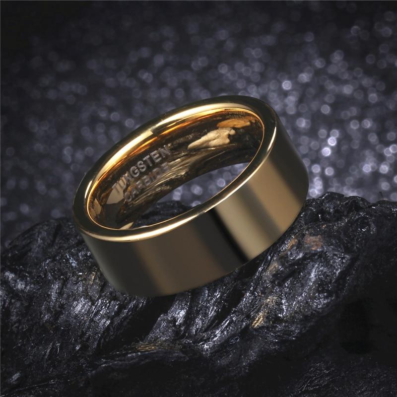 Soul Men 1 Pair Gold Color Wedding Rings Set 8mm Flat Simple for Men