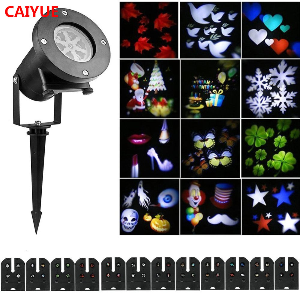 Christmas Decoration LED Moving Snowflake 12 replaceable pattern Projector DJ Stage Light for Home Xmas Garden Outdoor Landscape недорго, оригинальная цена