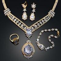 Большой Стиль роскошные 4 шт. Ювелирные наборы для Свадебная вечеринка Цепочки и ожерелья Серьги кольцо браслет свободный размер CZ Циркон к