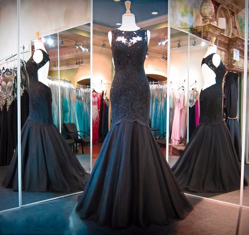 Hot Black Mermaid   Prom     Dresses   Backless Lace Applique Beads Sweep Train Crystal Real Pictures Formal Evening   Dress