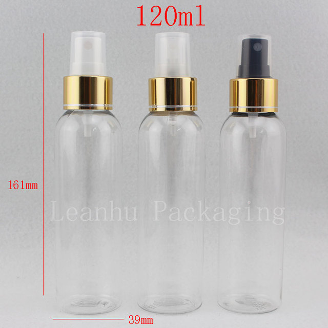 a0156e893a77 US $59.0  120ml X 40 Empty Clear Plastic Cosmetic Bottles with Gold Spray  Pump Perfume Bottle , 4oz Sprayer Pump Container,Mist Spray Pump-in ...