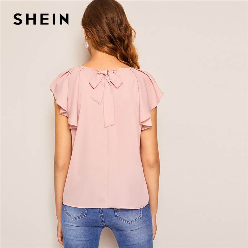 SHEIN Tie Back Raglan Ruffle Shoulder Casual Solid Blouse 2019 Cute Summer Office Ladies Short Sleeve Womens Tops And Blouses