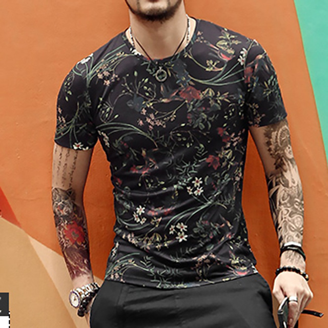 new spring men's digital printing short sleeved T-shirt cotton casual tops tees Fitness Mens T-shirt brand clothing T4315