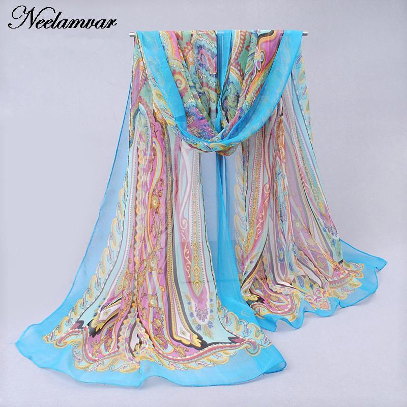 novi svileni šal iz šafonke Georgette ženske Bohemia dolge šal - Oblačilni dodatki - Fotografija 3