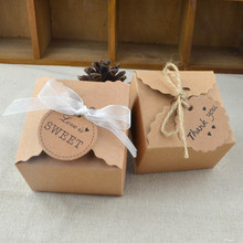 50pcs Wave Kraft Paper Box with ribbons and tags wedding baby shower favors candy box gift packing boxes vintage party favours