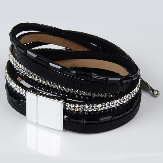 Rhinestone Feather Leather Bracelet with Magnetic Clasp