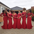 2016 Red Prom Gowns Vestido de Dama De Honra Red Long Sleeve Cap Sleeve Mermaid Prom Dress Appliques Bridesmaid Dresses