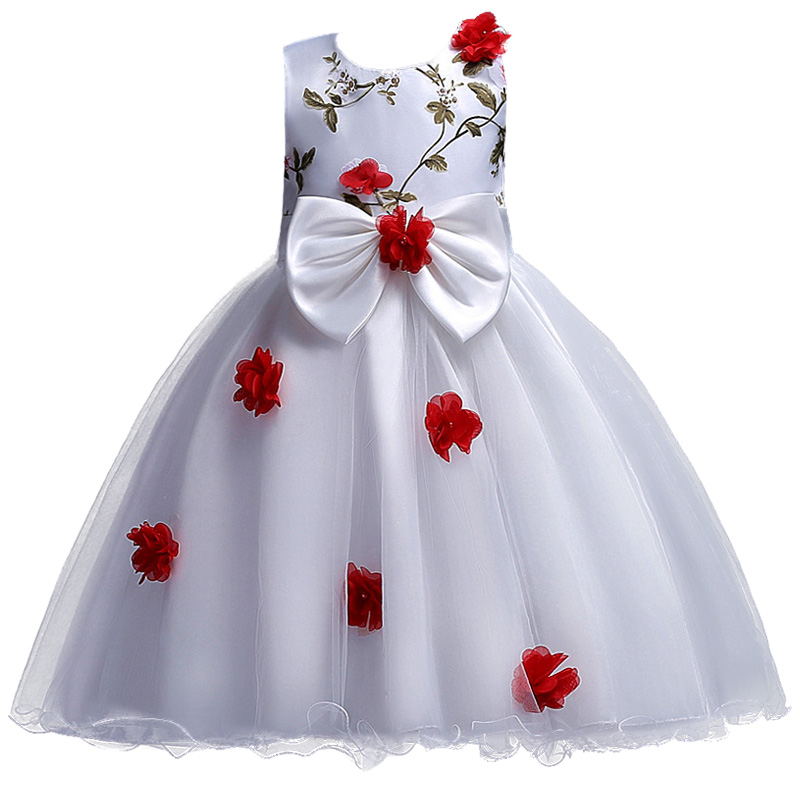 12yrs New baby Big bow tutu princess dress for girl elegant flower birthday party girl dress Baby girl's christmas clothes hot sale white princess girl party birthday dresses tutu wedding dress for christmas with handmade flowers and big bow 12m 12y