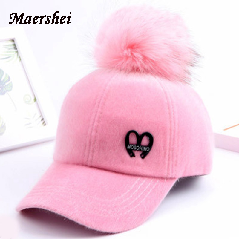 347482fa774 MAERSHEI Girls Hat Fur Pompom Baseball Cap Parents Korea Autumn Winter  Mother and Female Cashmere Warm