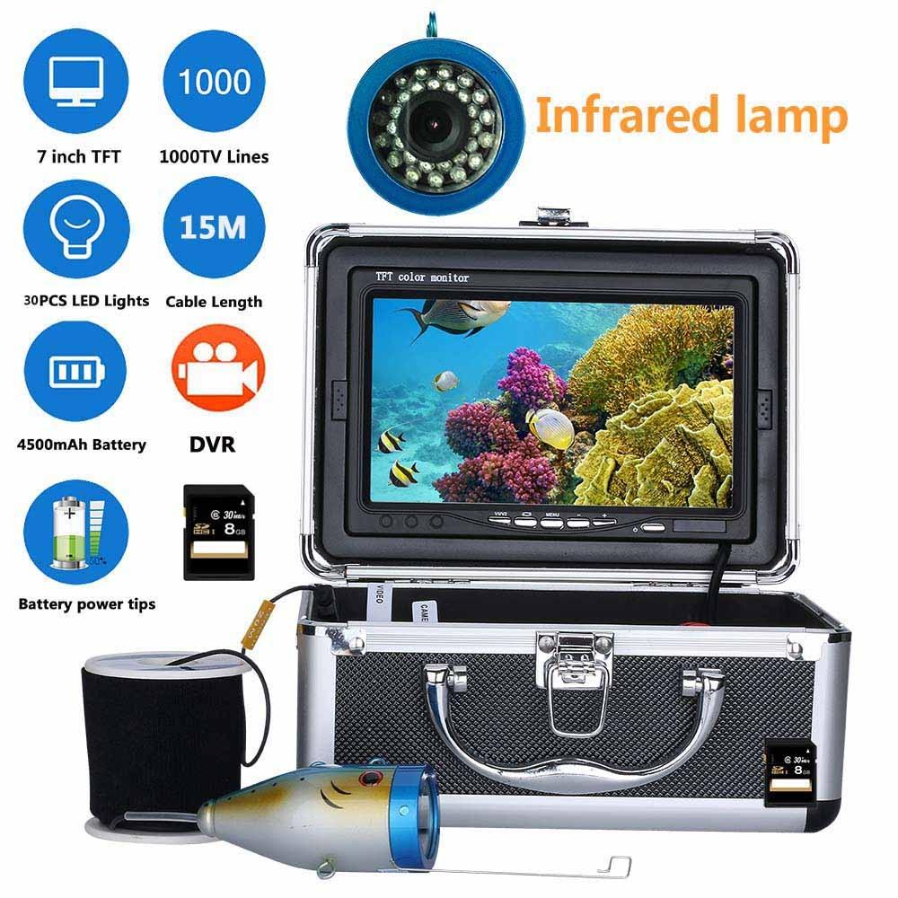 15M 7 Inch DVR Recorder 1000tvl Underwater Fishing Video Camera Kit 30 PCS LED Infrared Lamp