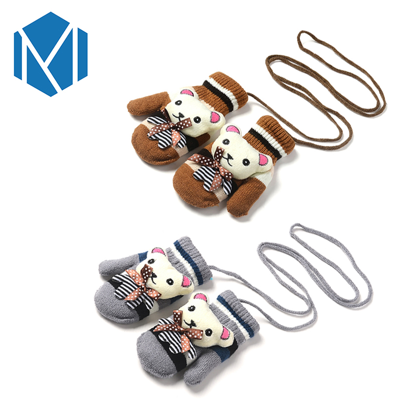 boys girls stretchy lanyard cartoon bear warm gloves. Black Bedroom Furniture Sets. Home Design Ideas