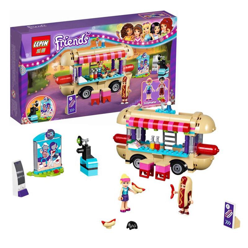 Lepin 01007 Girl Friend <font><b>Amusement</b></font> <font><b>Park</b></font> <font><b>Hot</b></font> <font><b>Dog</b></font> <font><b>Van</b></font> Building Blocks set Kids Bricks Gift Toys Compatible with 41129