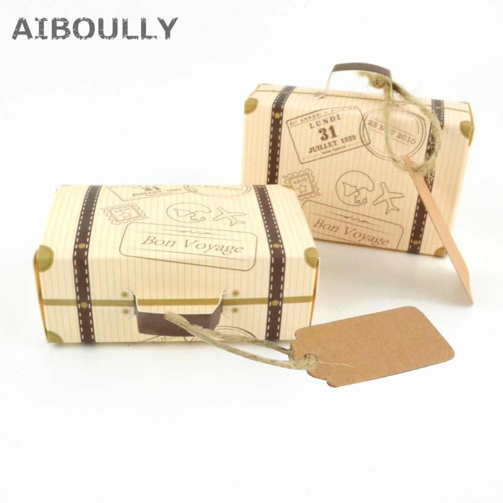 100 шт., креативный мини-чемодан, коробка для конфет, коробки для шоколада, картонная упаковка, коробка для свадебной вечеринки, дня рождения, сувениры с биркой