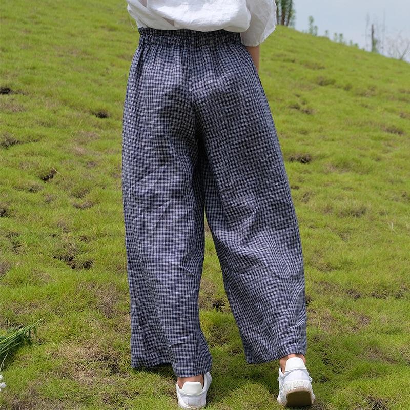 La Señoras Mujeres Verano Escocesa Plaid De Elástico Femenino Ancho Las Tela Retro Pierna Pantalones Anchos Del 2018 Lino Cintura Pantalón wTxvd1
