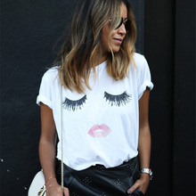 Summer Big Red Lips Print T-shirt