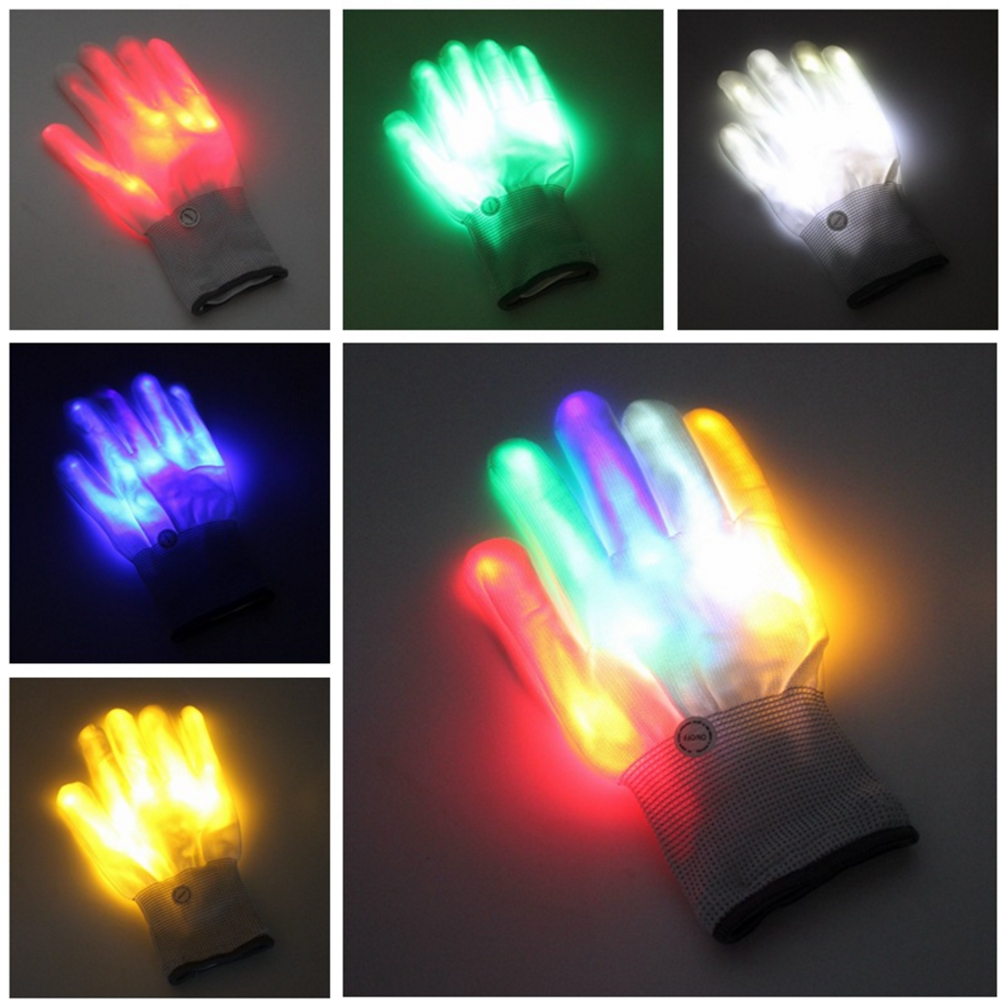 A Pair Cool LED Rave Flashing Gloves Adult Child Glow Light Up Finger Tip Lighting Glove Christmas Halloween Wedding Decoration