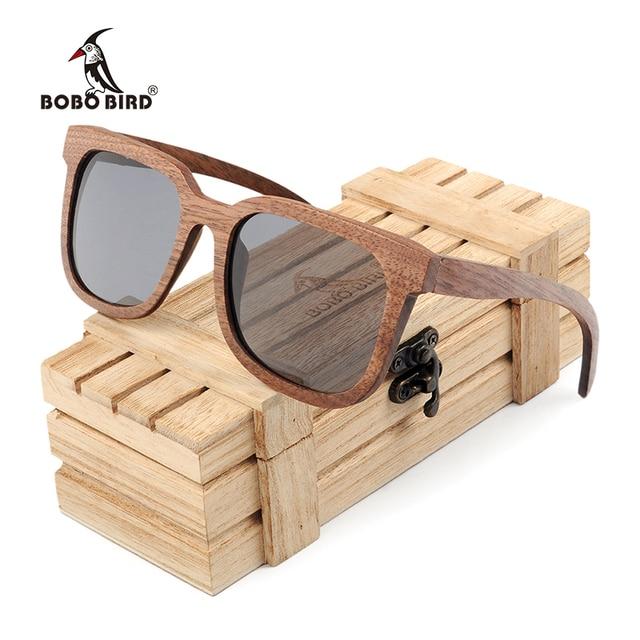 BOBO BIRD Black Walnut Wooden Men Sunglasses Polarized Vintage UV Protection Eyewear Women Bamboo Sun Glasses in Wooden Gift Box