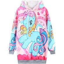 Harajuku 3D Print little Pony Rainbow Dash Unicorn Sweatshirts Girl Women Fashion little Horse Hoodies Cartoon Hoody Hooded &hat