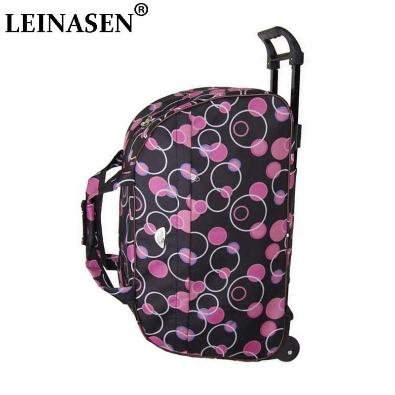LEINASEN moda su geçirmez bagaj çanta kalın tarzı haddeleme bavul arabası bagaj kadınlar Women seyahat çanta bavul tekerlekler ile