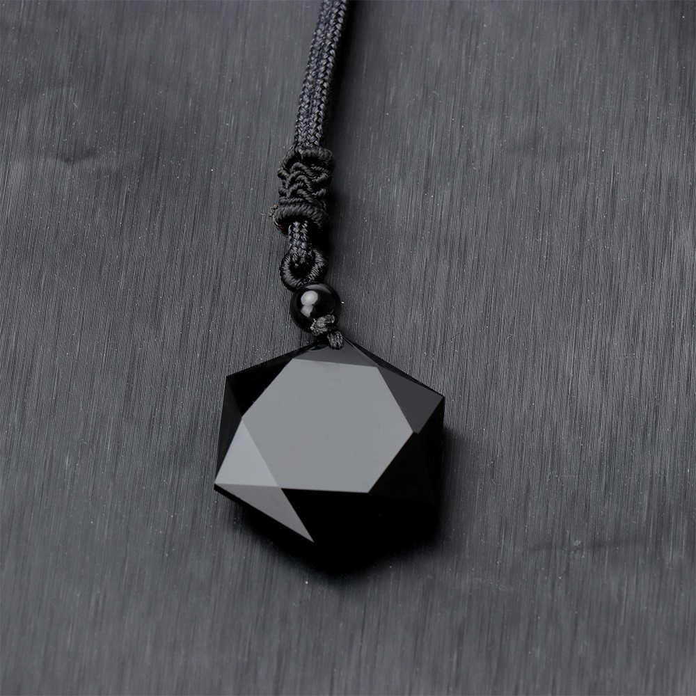 Colar de pingente de pedra natural de obsidiana, colar feminino e masculino, hexagonal cúbico, joia de amuletos e talismans, 1 peça