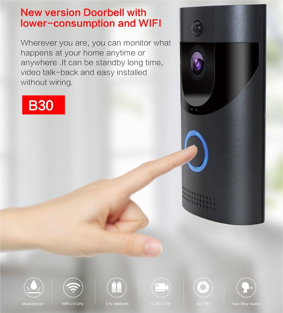 WIFI sonnette caméra sécurité intelligente IP65 étanche interphone vidéo porte cloche 720 P sapin alarme IR vision nocturne 18650 batterie puissance - 2