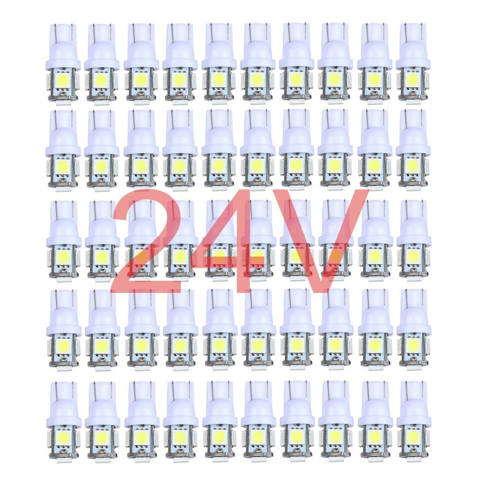 50x Colorful Truck 12V 24V LED T10 5LED 194 168 W5W 5 SMD 5050 5SMD LED Wedge Light Bulb Lamp White Green Blue Red Yellow 24V 1pc t10 5 smd 5050 led 194 168 w5w car side wedge tail light lamp bulb promotion white red blue yellow green pink ice blue