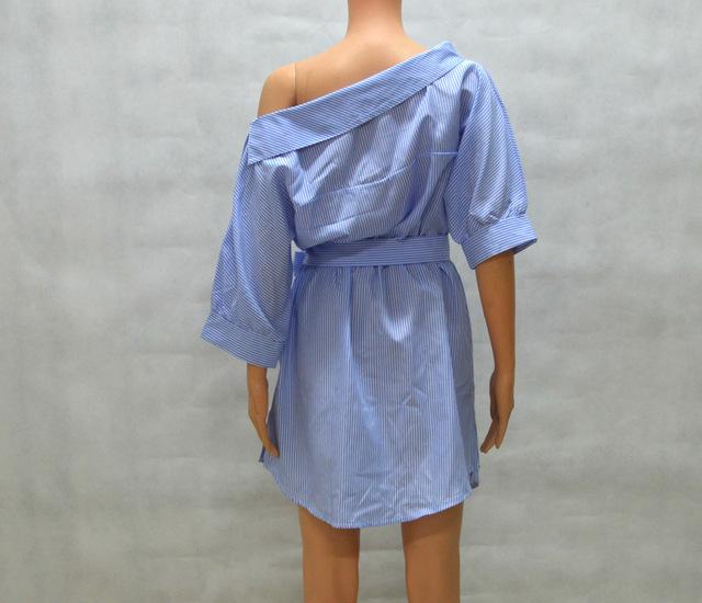 2017 Summer Women's One Shoulder Blue Striped Women Shirt Dress Sexy Side Split Elegant Half Sleeve Waistband Beach Dresses