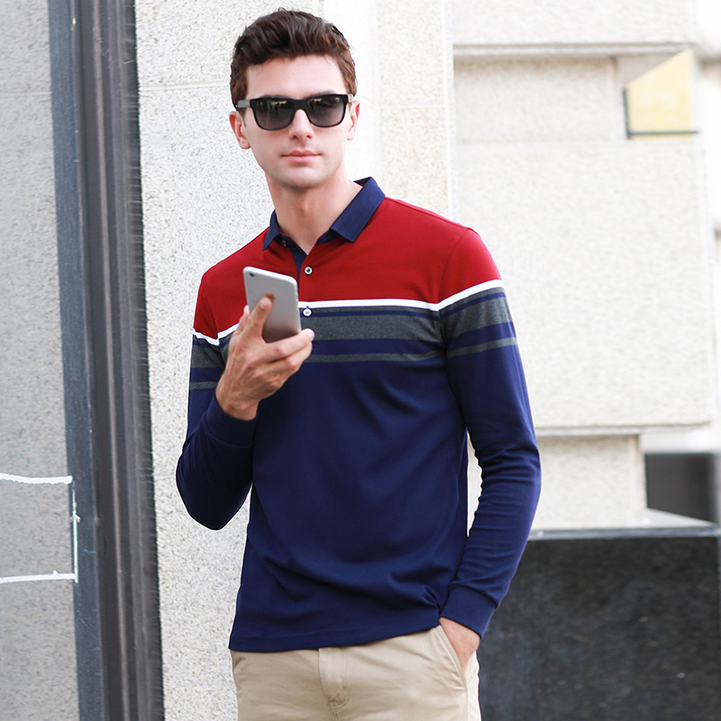 New arrival autumn spring long sleeve striped   polo   shirt men cotton business casual breathable plus size XXXL homme camisa 18068