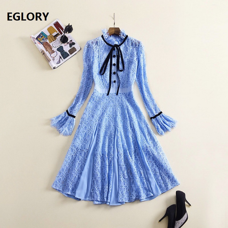 Blue White Lace Dress Women Ruffled Collar Flare Sleeve Mid-Calf Length Hollow Out Party Tunic Dress Princess Ladies Dresses autumn long lace dress cut out pink blue fit and flare sleeve bodycon tunic evening party midi dress european style