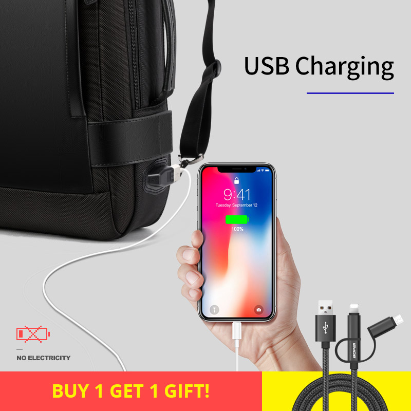 BOPAI Marque Agrandir Sac À Dos USB Externe Charge 15.6 Pouces sac à dos pour ordinateur portable Épaules Hommes Anti-vol Imperméable sac à dos de voyage - 3
