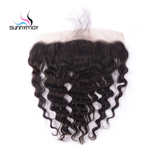 Sunnymay Loose Wave Brazilian Virgin Hair Closure Natural Color Swiss Lace Hidden Knots 13×4 Silk Base Lace Frontal