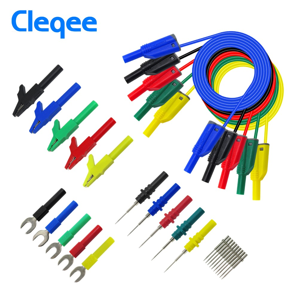 Cleqee P1050B 4mm Safety Stacked Banana Plug Silicone Lead for Multimeter Alligator clip amp  U-type insert amp  Puncture test Probe Kit