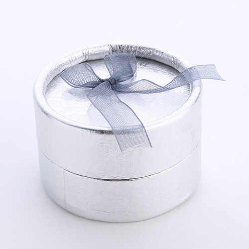 Nueva elegante caja de anillos de pendientes redondos Bowknot organizador de joyas soporte de caja de regalo de compromiso de boda caja de exhibición