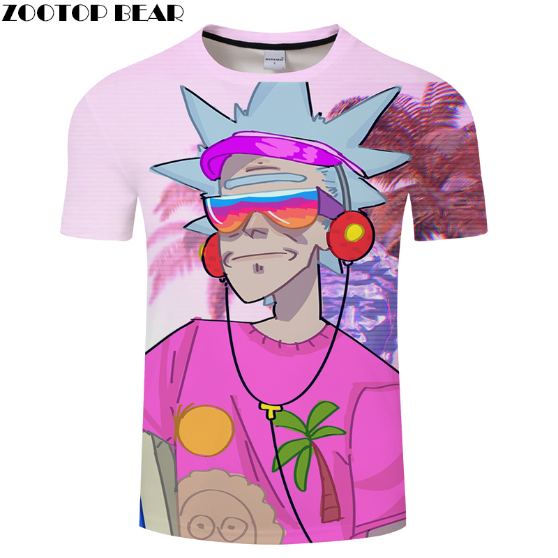 2018 3D MEN Leisure Music Tee Short Sleeve tshirt Cartoon Funny Casual t shirt Summer t-shirt Round Neck Top ZOOTOP BEAR Brand