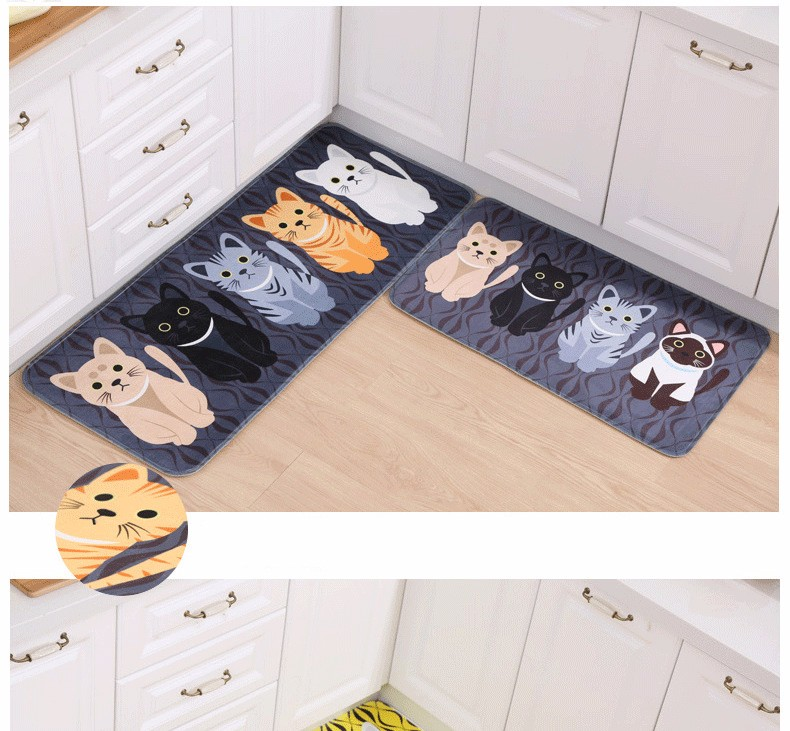 2016 Hot Sale Floor Mats Animal Cute Cat Print Bathroom Kitchen Carpets House Doormats For Living Room Anti Slip Tapete Rug