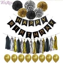 FENGRISE Black Happy Birthday Banner Carta velina Nappa Ghirlanda Pom Poms Festa di compleanno Decorazione Photobooth Feste per feste