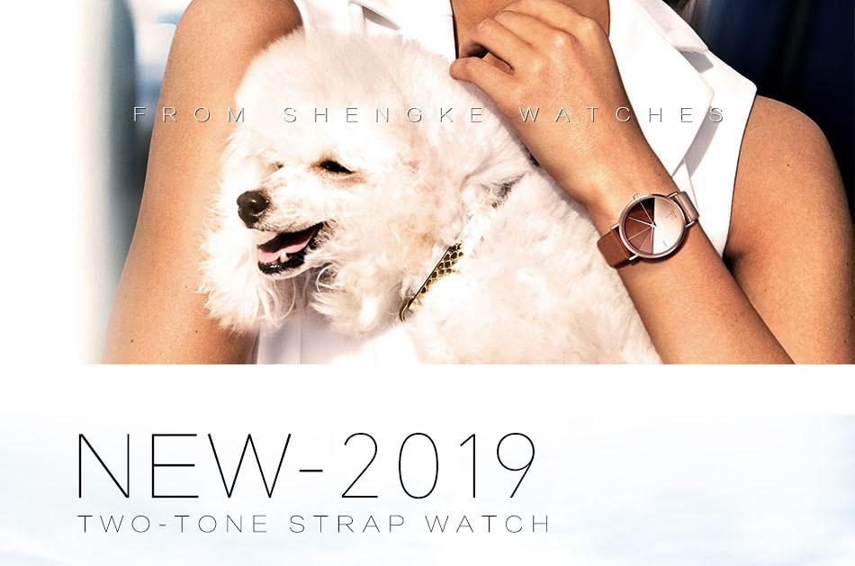 SK Luxury Leather Watches Women Creative Fashion Quartz Watches For Reloj Mujer 2018 Ladies Wrist Watch SHENGKE relogio feminino