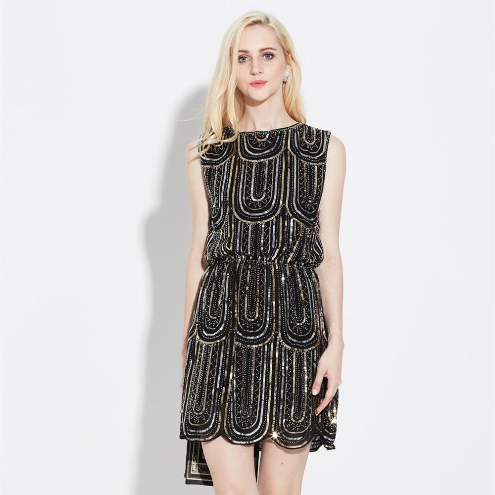 Us 21 31 28 Off Luxury Women Embroidery Sleeveless Elastic Waist Vintage Chiffon Mini Party Dress 1920s Gatsby Beaded Sequin Little Black In