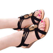 New string Bead Flat Bottom Beach Shoes Casual Womens Sandals Non-slip Fashion Women Bohemian  Fish Mouth Wedges