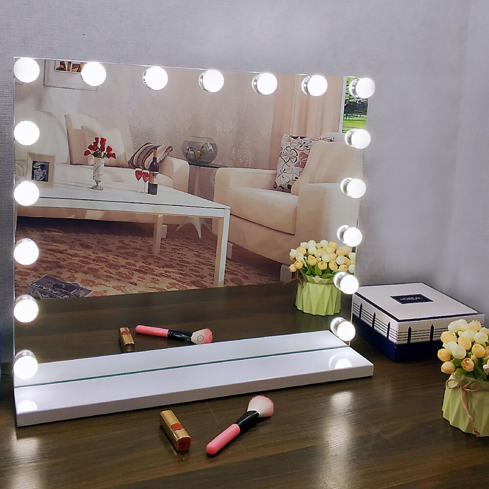 60*52.5cm hollywood led makeup mirror with 17 led bulbs make up led mirror WW/NW/CW color temperature adjustable