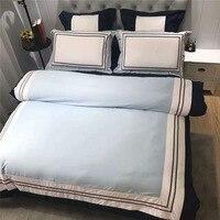 CHAUSUB 60S Satin Egyptian Cotton Bedding Set 4PCS European Luxury Duvet Cover Set Sheets Pillowcase King Queen Size Bed Linens