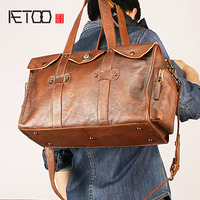 AETOO Men's leather travel bag, stylish retro large capacity luggage bag, handheld shoulder bag