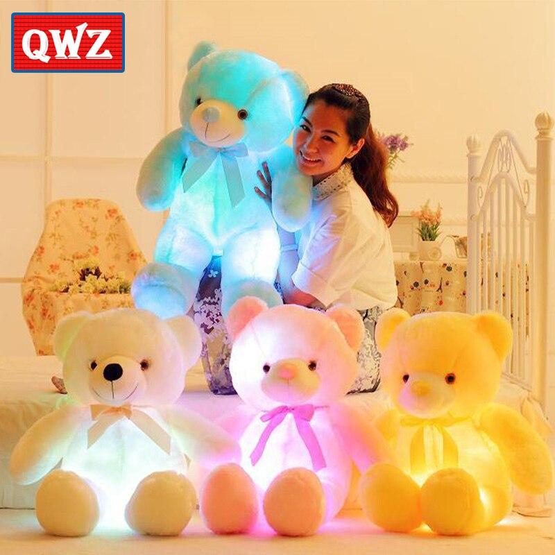 QWZ 50 cm luz creativa LED oso de peluche animales de peluche de felpa colorido brillante oso de peluche regalo de Navidad para niños