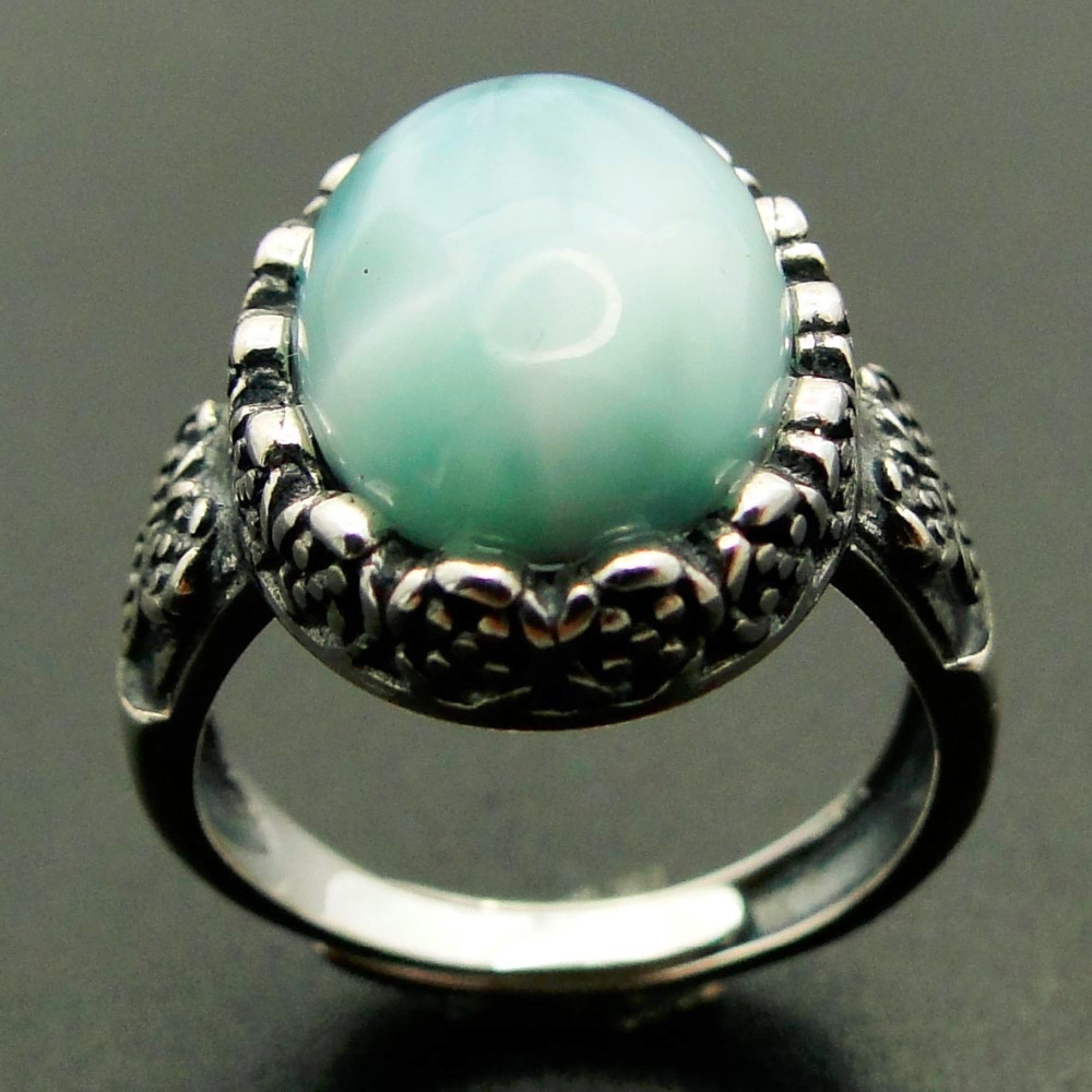 10*14MM Big Stone Ocean Natural Larimar Ring 925 Sterling Silver Vintage Woman Crystal Rings for Engagement/Party/Wedding big stone larimar rings woman ladies engagement rings with natural larimar gemstone 925 sterling silver jewelry gift for her