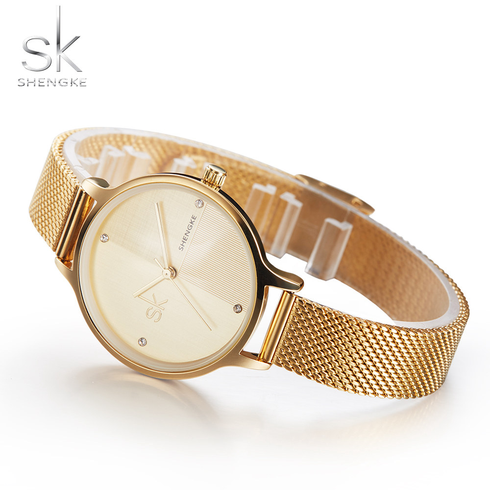 Shengke New Luxury Women Watch Famous Brands Gold Fashion Design Bracelet Watches Ladies Women Wrist Watches Relogio Feminino new luxury women watch famous brand silver fashion design bracelet watches ladies women wrist watches relogio femininos