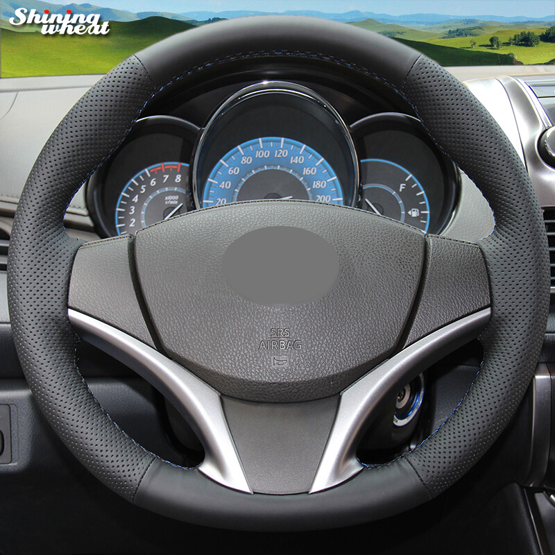 Shining wheat Hand-stitched Black Leather Car Steering Wheel Cover for Toyota Yaris Vios 2014-2016
